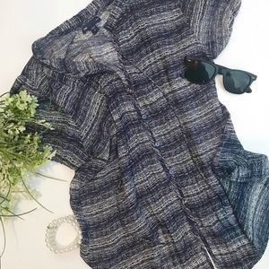 Gap short sleeve blouse -dark navy and white